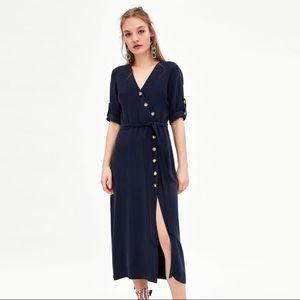 Zara S M Asymmetrical Midi Navy Blue Dress